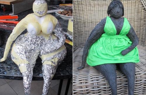 Een beeld van het maken van een dikke dame in 2 fases van paverpol het plaatje is aanklikbaar en waar informatie te vinden over de workshops paverpol